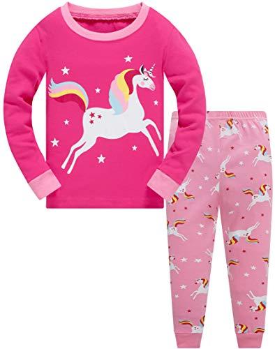 Mädchen Schlafanzug Einhorn 100% Baumwolle Kinder Zweiteiliger Lange Ärmel Pyjama Set Kleinkind Nachtwäsche Pjs Outfits Rosa 116