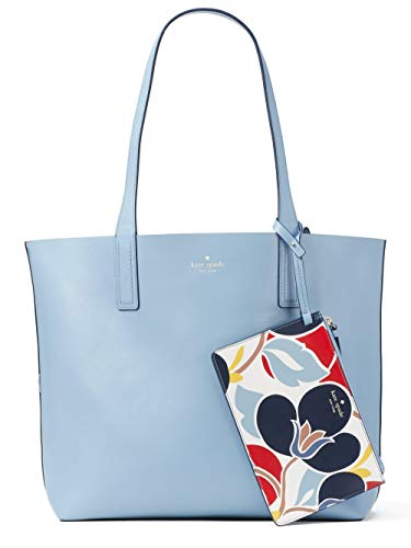Kate Spade Arch Place Mya Breezy Floral Reversible Leather Tote Bag Shoulder Bag, Blue Dawn Multi