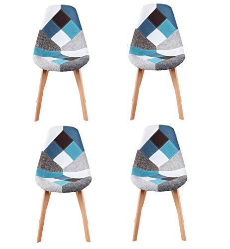 N/A Lot de 4 chaises Patchwork scandinaves, Fauteuil de réception en Lin, Fauteuil Restaurant, Dossier rembourré, Bleu Patchwork chaises