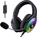 Redragon Pandora H350 RGB Cascos Gaming - Audio de Alta Definición + Potentes Bajos - Auricular Gaming con Micrófono extraíble, Almohadillas Grandes - Funciona en PC/PS4/XBOX One/NS (Negro)