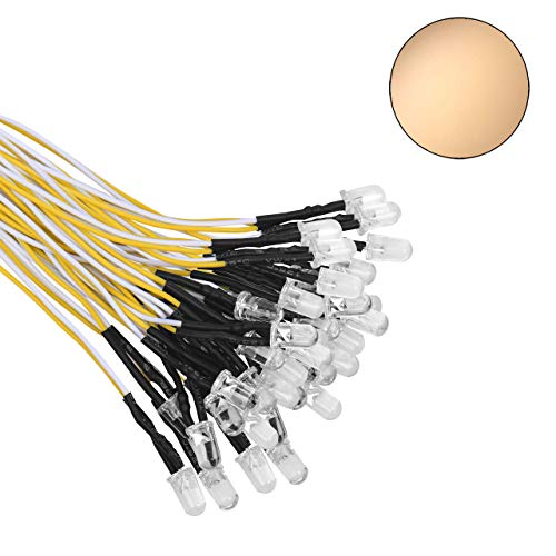 DEDC 50 Pcs 5 mm Vorverdrahtete LED-Dioden-Licht mit 21cm Kabel, 12 V Led fertig verkabelt (Warmweiß)