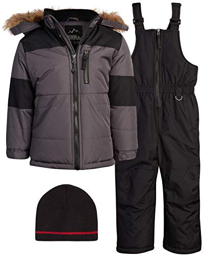 iXtreme Boys' Snowsuit - Water Resistant Fleece Lined Winter Ski Jacket and Snow Pants Overall Set (Toddlers/Boys) (Gray, 18)