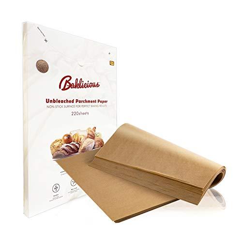 Baklicious 220 pcs Parchment Paper Sheets 9x13/12x16 Unbleached Parchment Paper for Baking(9x13 inch)