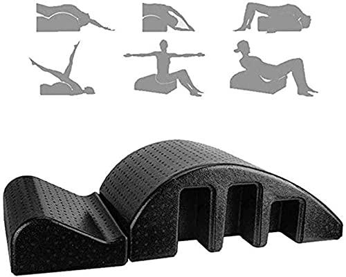 Pilates Yoga Cuña Mesa de masaje Corrector de la columna de la columna, alivio del dolor de espalda Alineación cervical de la columna vertebral Corrector de vértebras Cama de meditación de yoga, negro