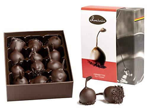 Chocolates de licor Duva Premium en chocolate oscuro, 12 cerezas en licor en chocolate fondant belga, Cerisettes 200g
