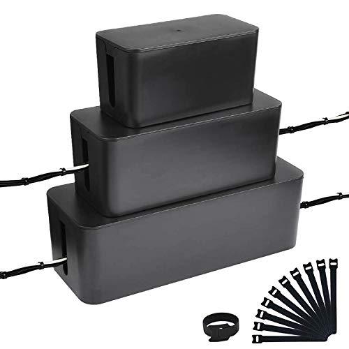 Powerking Cajas de cables,organizador de cables para administración de cables y cables, almacenamiento y soporte para cubrir y ocultar y enchufes y cables de alimentación (3 juego blanco)