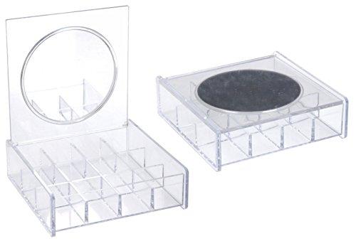 Sieradenkistje met 12 vakjes van acryl - sieradendoos inclusief spiegel - parelbox organizer doos