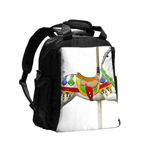 Bolsas de pañales Bolsa de pañales Parque de atracciones Tiovivo Papás Bolsa de pañales Mochila Mochila de viaje multifunción con almohadilla para cambiar pañales para el cuidado del bebé