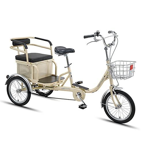 Triciclo per Adulti 16 Pollici Adulto Triciclo Alto Cornice In Acciaio Al Carbonio Bicicletta Per Adulti Con Sedile Posteriore E Sedile Sciacamerata Tre Ruota Cruiser Bici Per Anziani, D(Color:Gold-B)