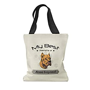 Custom Canvas Tote Shopping Bag My Best Friend Is Alano Espanol Dog Reusable Beach for Women 46