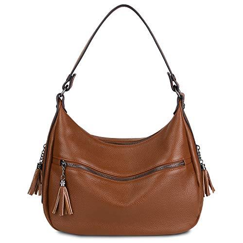 YALUXE Women Shoulder Bag Genuine Leather Stylish Crossbody Tote Travel Top-Handle