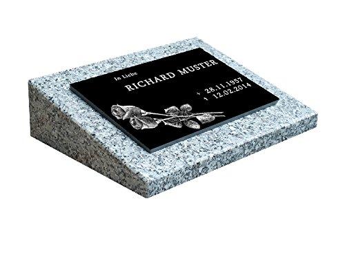 Urnengrabstein Nr. 1, Grabstein Grabmal, Grabplatte inkl. Inschrift und Motiv mit Sockel