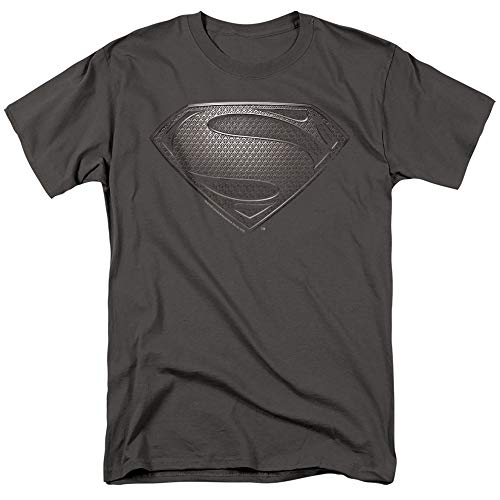 Popfunk Superman Man of Steel Movie Gray Shield T Shirt & Stickers (X-Large) Charcoal