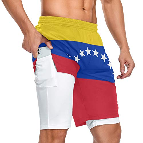 Pantalones cortos deportivos con bolsillo para hombre con bandera de Venezuela