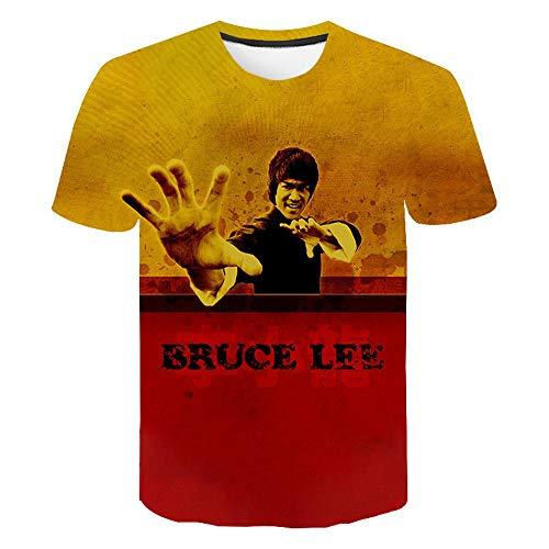 Camiseta Casual de Manga Corta para Hombre, Camiseta con Cuello Redondo y Estampado 3D Bruce Lee Kung Fu Martial Art