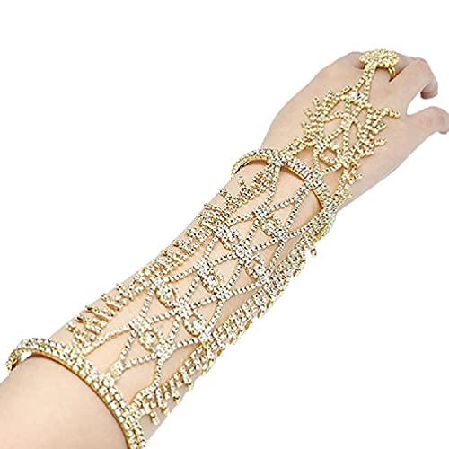 unknows Pulsera de joyería, pulsera de brazo, brazalete y anillo de boda de hojas de novia de flecos, joyería de mano, brazalete de danza del vientre