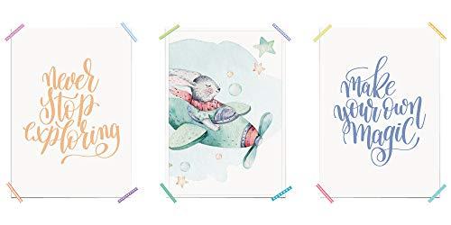 myprinti® 3-delige set kinderkamer poster babykamer foto's | Jongen meisjes baby | Wanddecoratie fotogalerij deco | Maat DIN A5, A4, A3 | Never Stop Exploring, haas, vliegtuig, Make Your Own Magic