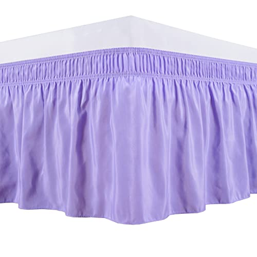 Biscaynebay Wrap Around Bed Skirts with Adjustable Belts for Queen Beds 15 Inches Drop,Lavender Elastic Dust Ruffles Easy Fit Wrinkle Resistant Silky Luxurious Fabric Machine Washable