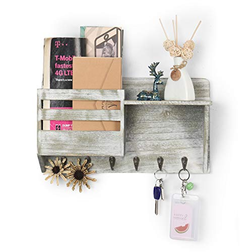 Mail Holder for Wall with 6 Key Hooks Wooden Mail Sorter Letter Bills Magazine Organizer Rustic Home Decor for Entryroom Mudroom Hallway Kitchen Office Garage, Rustic Gray