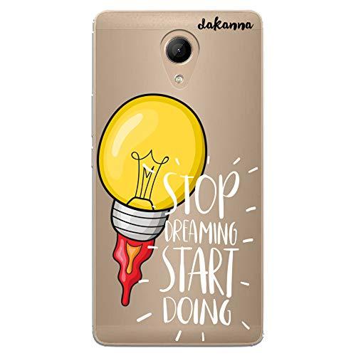 dakanna Funda Compatible con [Wiko Robby] de Silicona Flexible, Dibujo Diseño [Frase motivavión, Stop Dreaming Start Doing], Color [Fondo Transparente] Carcasa Case Cover de Gel TPU para Smartphone