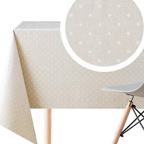 KP HOME - Mantel de plástico con diseño de lunares, color beige con cubierta de PVC blanco, rectangular de 200 x 140 cm