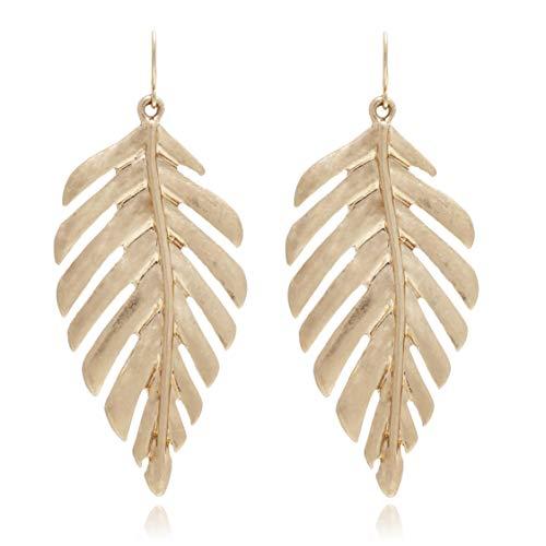 BONALUNA Womens Boho Artistic Vintage Leaf Metal Dangle Drop Statement Earrings Gold