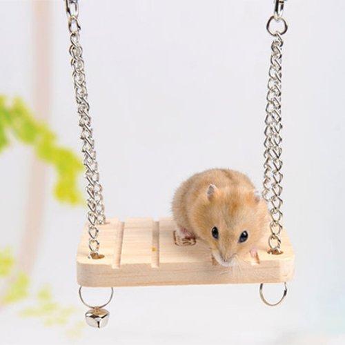 Juguetes for Animales de oscilación de Madera hámster Campana con pequeña Cadena de Bell Suspensión Poppled Colgantes Escalera Huangchuxin