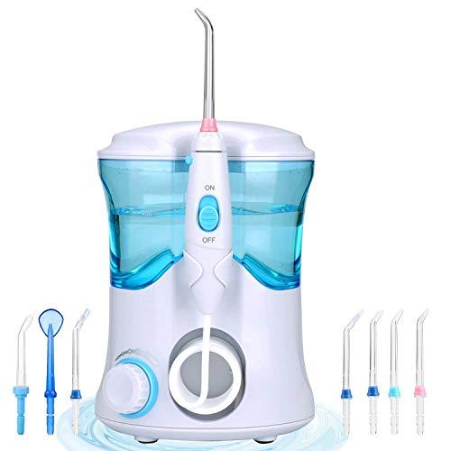Munddusche Oral Wasserreiniger, Professionell Wasserdicht Zahnpflege Zahnreinigung Wasserstrahl für Familie Haushaltnutzen mit 7 Düsen für zu Hause und unterwegs