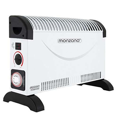 Monzana Convector estufa de 2000W con temporizador 24h termostato 3 niveles de calor radiador interior antihielo