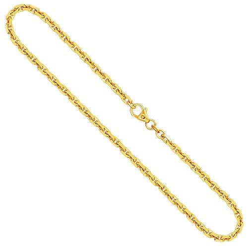 EDELWEISS Collana Modello Ancora diamantata massiva in Oro Giallo Uomo, 14 carati 585, largh. 3 mm, p. 19.9 g, lungh. 42 cm, con Chiusura ad Aragosta, Marchio di Garanzia Made in Germany