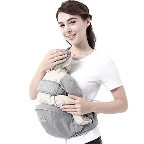 PFLife Baby Hüftsitz einstellbarer abziehbarer Sicherheitsgurt, entlastet Ihre Schultern, Rücken und Hände,Hüfensitz ergonomisches baby Hüftsitzträger für 3-36 Monate Baby Kinder (GRAU)