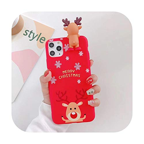 3D Doll Cartoon Christmas Santa Reindeer Tree Phone Case For iPhone 12 11 Pro Max XR XS Max 7 8 Plus X Candy Soft Back Cover-a-For 7 Plus or 8 Plus