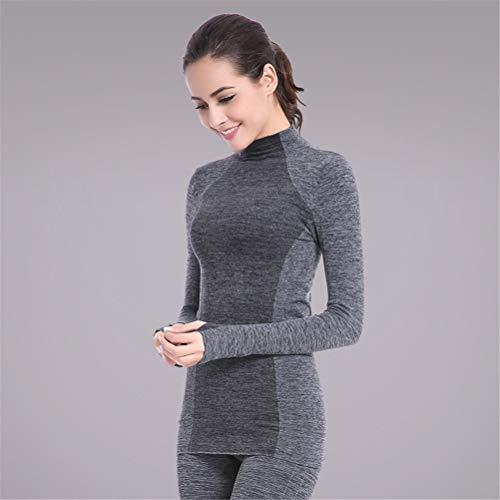 Hbao Damen Yoga Anzug Fitness Sportswear Anzug Langarm-Yoga-Hemd Laufen Gym Yoga Top und elastische dünne Hosen-1 Set (Color : Gray, Size : Medium)