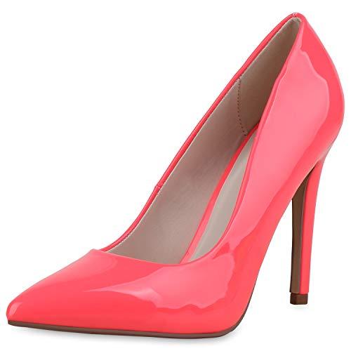SCARPE VITA Damen Spitze Pumps Stiletto Party Schuhe High Heels Lack Absatzschuhe Elegante Abendschuhe 182896 Neon Pink Lack 36