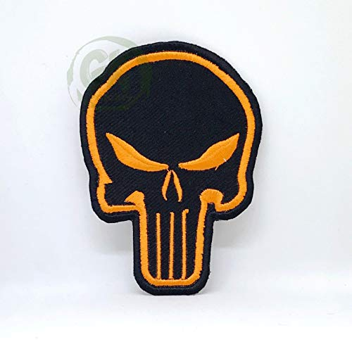 Rose Sugar Skull Reaper Dämon Biker Sammlung Eisen/annähen gestickten Patch (DIE Punisher ORANGE)