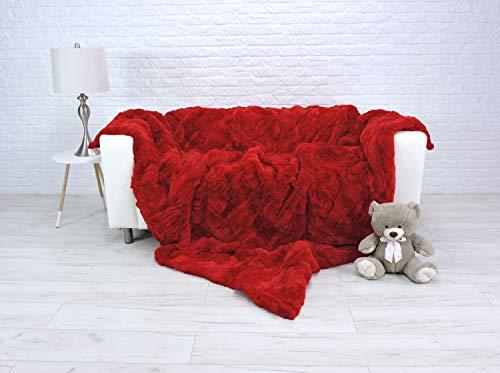 CuddlyDreams Luxury Real Rex Rabbit Fur Blanket Fur Throw King Size Sofa Cover Red Sofa Throw Genuine Leather Fur Rug Home Decor 315