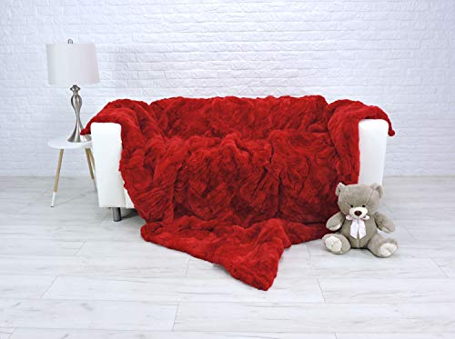 CuddlyDreams Luxury Real Rex Rabbit Fur Blanket Fur Throw King Size Sofa Cover Red Sofa Throw Genuine Leather Fur Rug Home Decor 315