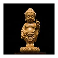 10cmウッド仏像ティススティックシュキヤムニクラフト菩薩車のキャラクター木の家の装飾 (サイズ : 10cm)