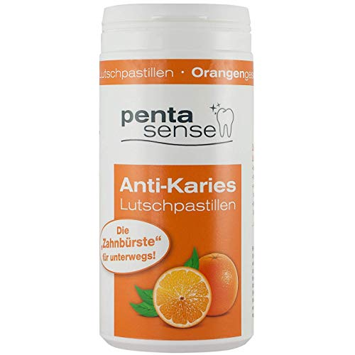 penta-sense Anti Karies Lutschpastillen mit Xylit – Pastillen für die optimale Zahnpflege mit Orangen Geschmack – 1 x Dose je 135 Pastillen