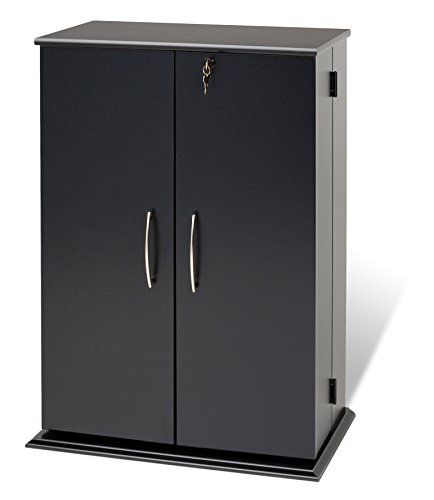Prepac Locking Media Storage Cabinet, Black