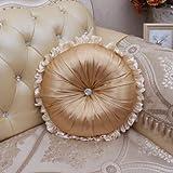 YZY Ronda Creativa satén Almohadas Cojines Modernos Almohadilla de Tiro del sofá Silla Redonda Textiles for el hogar (Color : 2, Specification : 40cm Cushion)