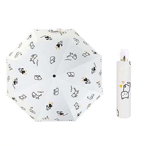 HItiejoy Paraguas plegable manual automático de lluvia y sol lindo gato perro impresión paraguas portátil