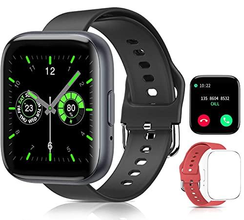 Reloj Inteligente Smartwatch , Sebami Pulsera de actividad Impermeable IPX5 de 1.55 inch Pantalla Completa Táctilpara Hombre Mujer niños Con función de llamada Bluetooth, Pulsera de Actividad Inteligente con Monitor de Sueño Contador de Caloría Pulsómetros Podómetro para Android iOS (Negro)