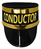 Adult Deluxe Train Conductor Hat - Locomotive Engineer Cap - Railroad Costume Accessory, Black Gold, One Size