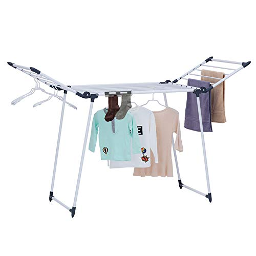YUBELLES Clothes Drying Rack Gullwing and Foldable Laundry Rack for Indoor or Outdoor Use Dark Grey
