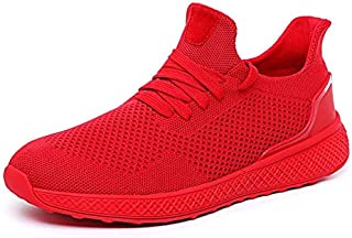 Casual Shoes Flying Mesh Sports Shoes Casual Lightweight Running Shoes for Men, Size:48(Red) Casual Shoes