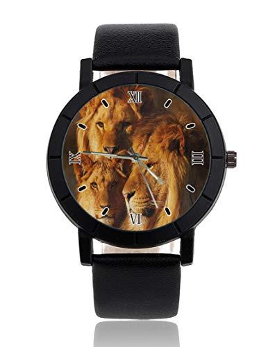 Armbanduhr mit Löwenfamilie, personalisierbar, leger, schwarzes Lederband, Armbanduhr für Herren und Damen, Unisex