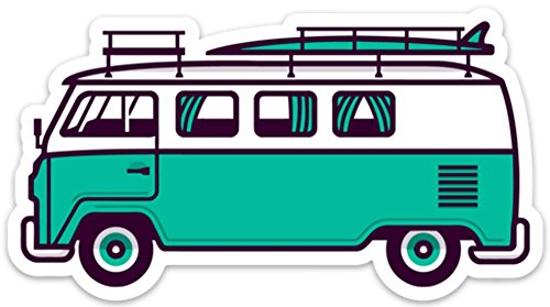 VW Surf Van Bus Aufkleber Aufkleber 12,7x 6,9cm Aloha Meer grün