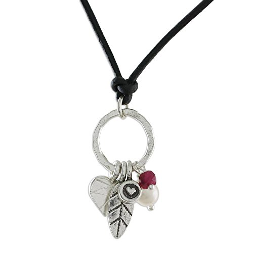 Sterling Silver Faceted Ruby Pendant - 7