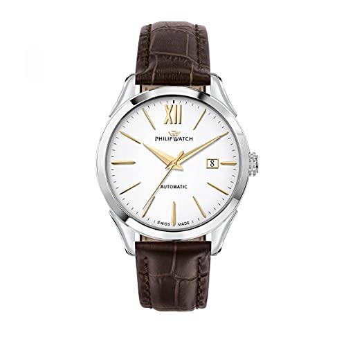 Philip Watch Reloj Hombre, Colección Roma, de Acero Inoxidable, Cuero - R8221217004